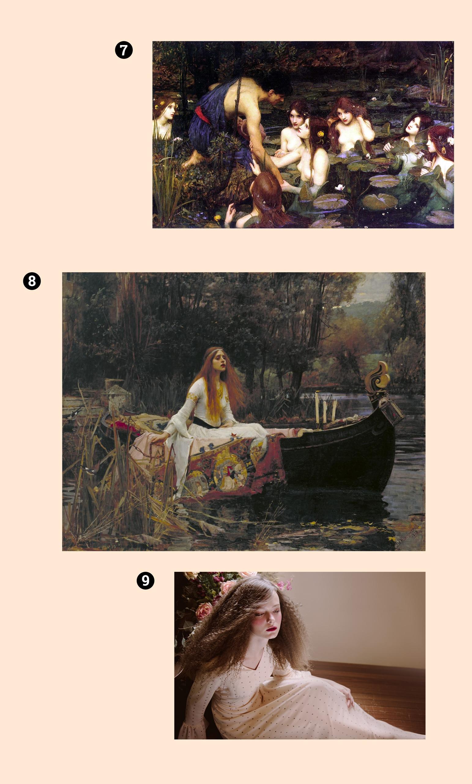 Obraz przedstawia trzy obrazy, na których widzimy postaci kobiece. Całość na jasnym tle.