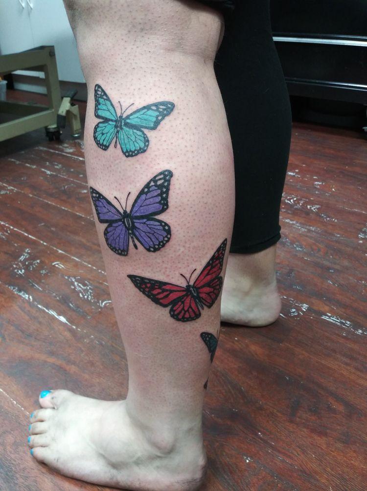 Love job - butterflies, legtattoo - yankeedoodlezart | ello