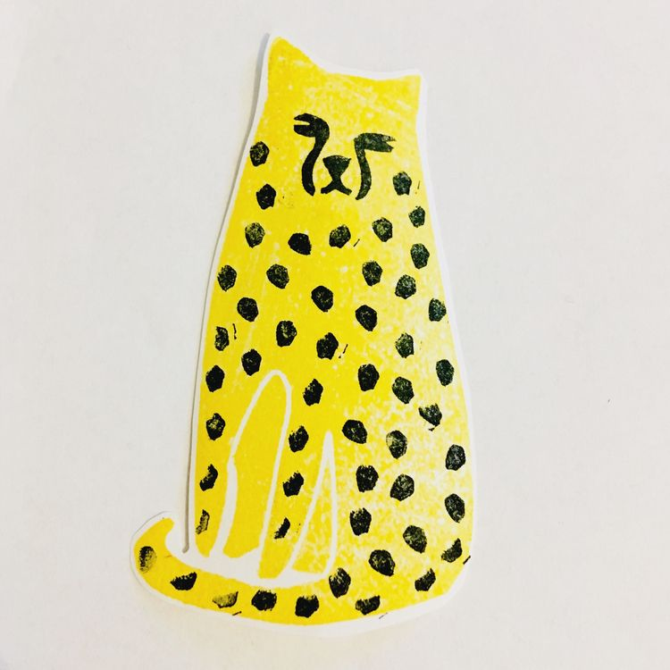 leopard - kittycat, stamp, lino - studiomalu | ello