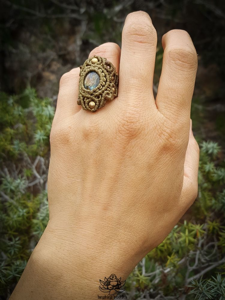 Olive green ring crystal brass  - laughingbuddhaart | ello