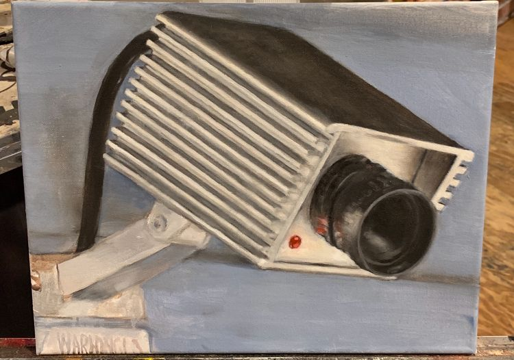 "11x14"" Security Camera"" oil can - leofbaker 