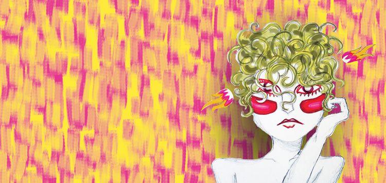 Curly pop - illustration, woman - maracarvajal   ello