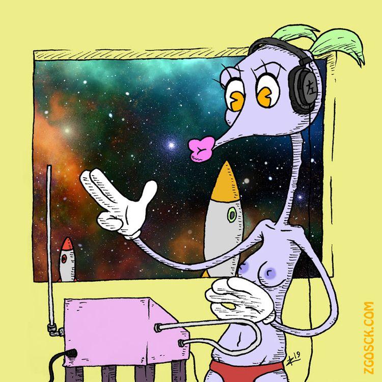 space lady, favorite - drawing, cartoon - zigmund   ello