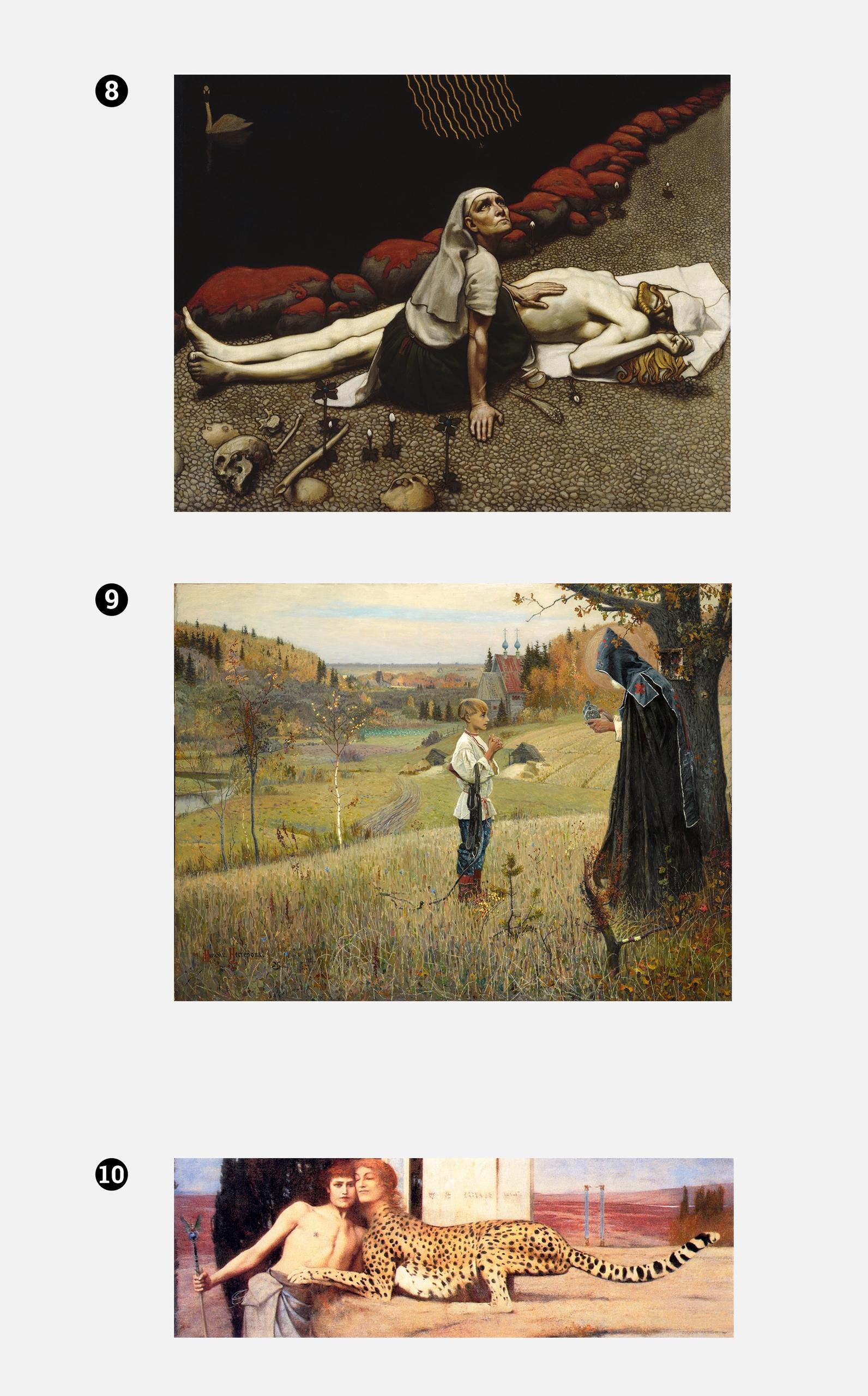 Zdjęcie przedstawia trzy obrazy znanych artystów na jasno-szarym tle.