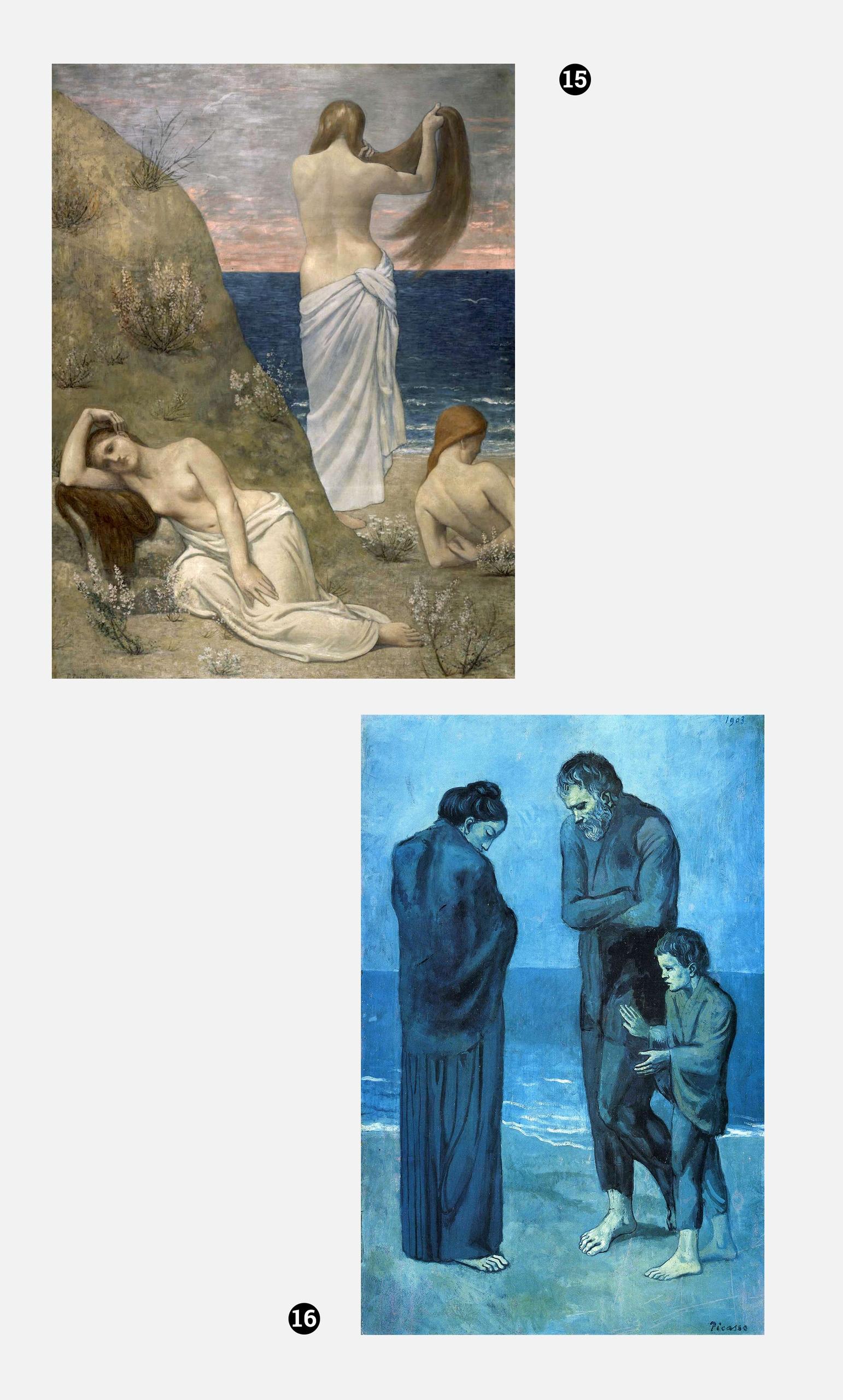 Obraz przedstawia dwa zdjęcia obrazów, obrazy są numerowane i znajdują się na szarym tle.
