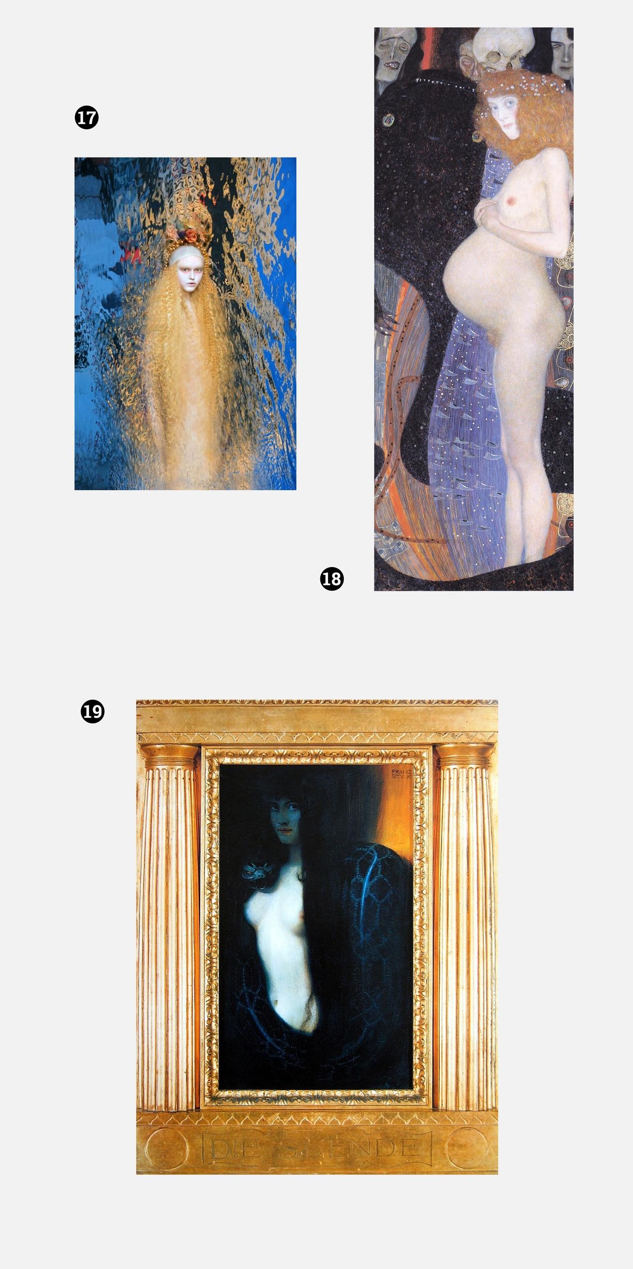 Obraz przedstawia zdjęcia dzieł znanych artystów na szarym tle. Jeden z obrazów znajduje się w złotej ramie.