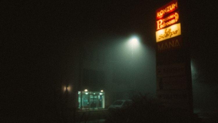 Follow - street, fog, mist, cinema - dark-indigo   ello