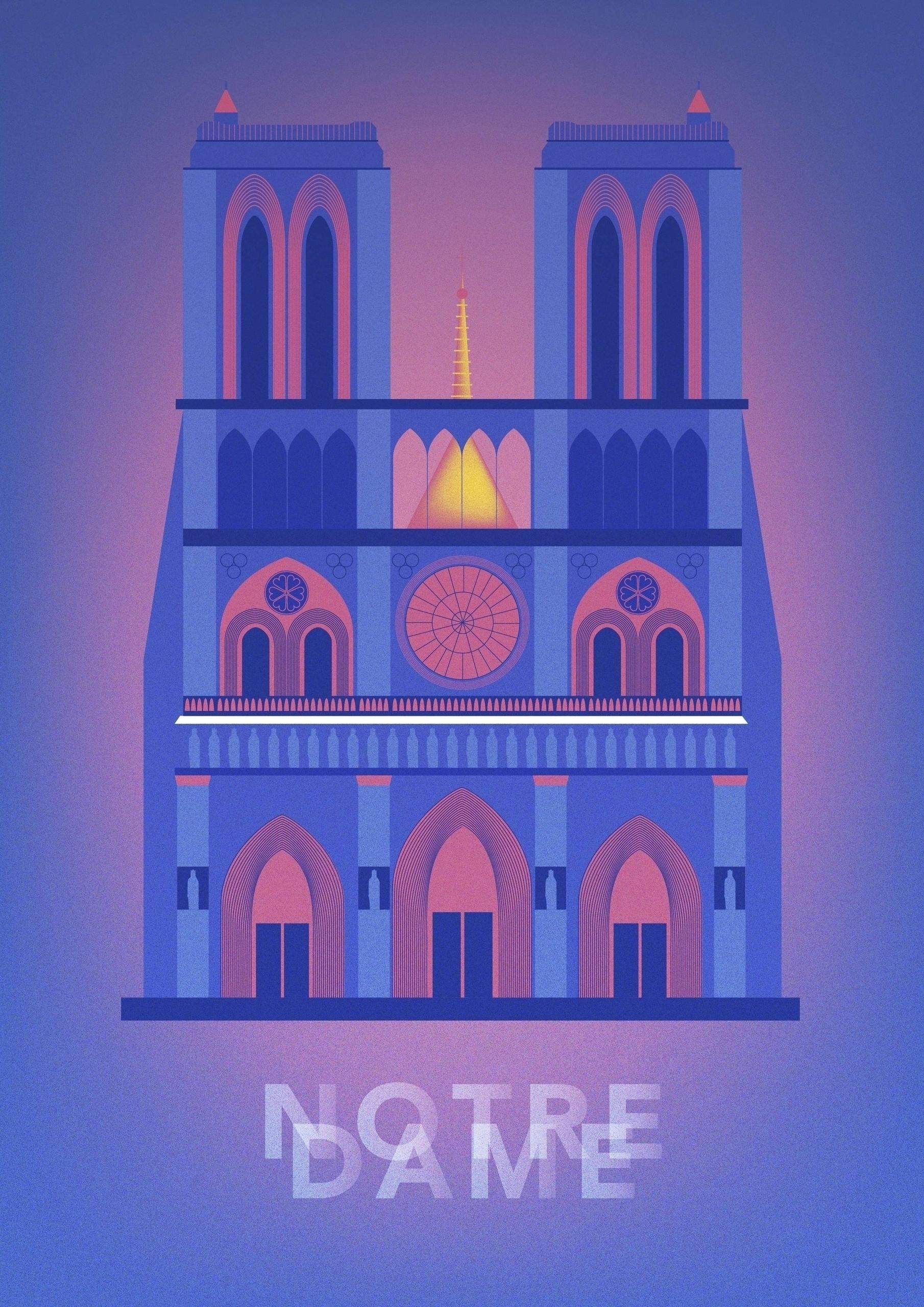 paris, notredame, illustration - ewelinagaska | ello