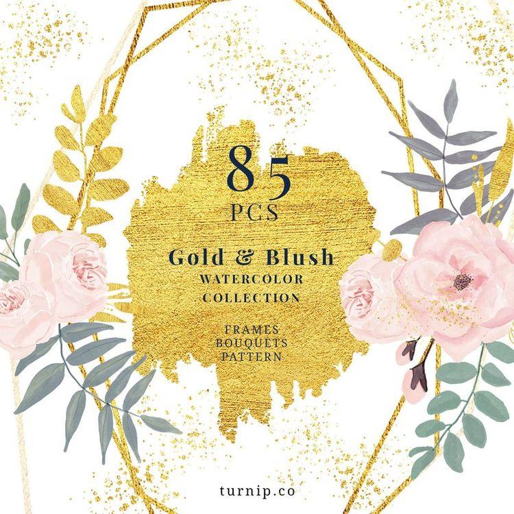 85 Blush Gold Watercolor Floral - turnipco | ello