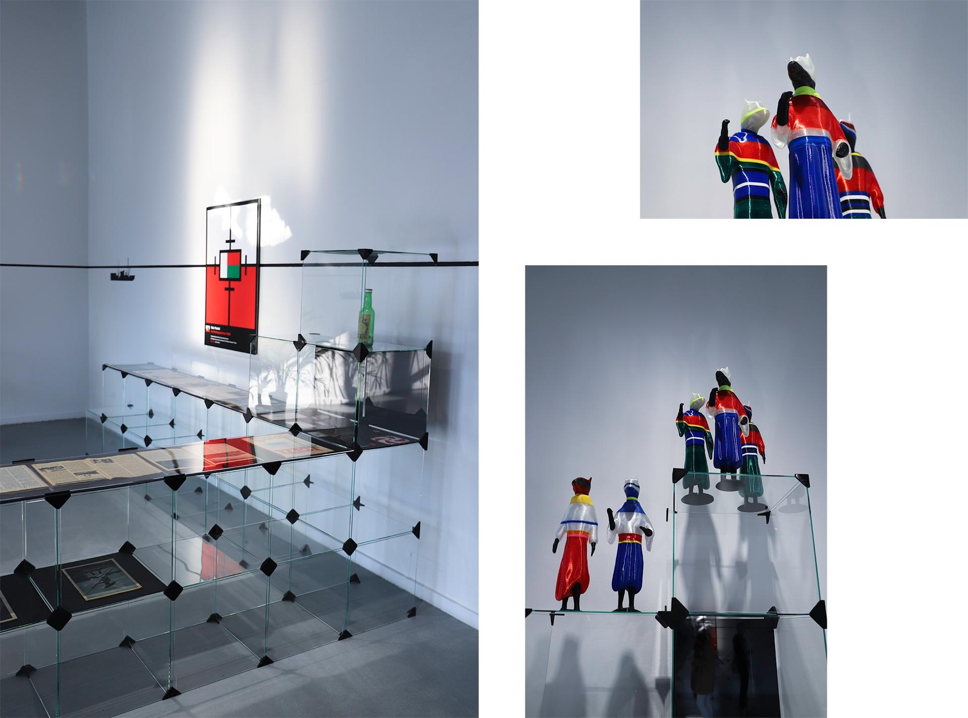 Obraz przedstawia dwa zdjęcia przestrzeni z białymi ścianami i szklanymi elementami.