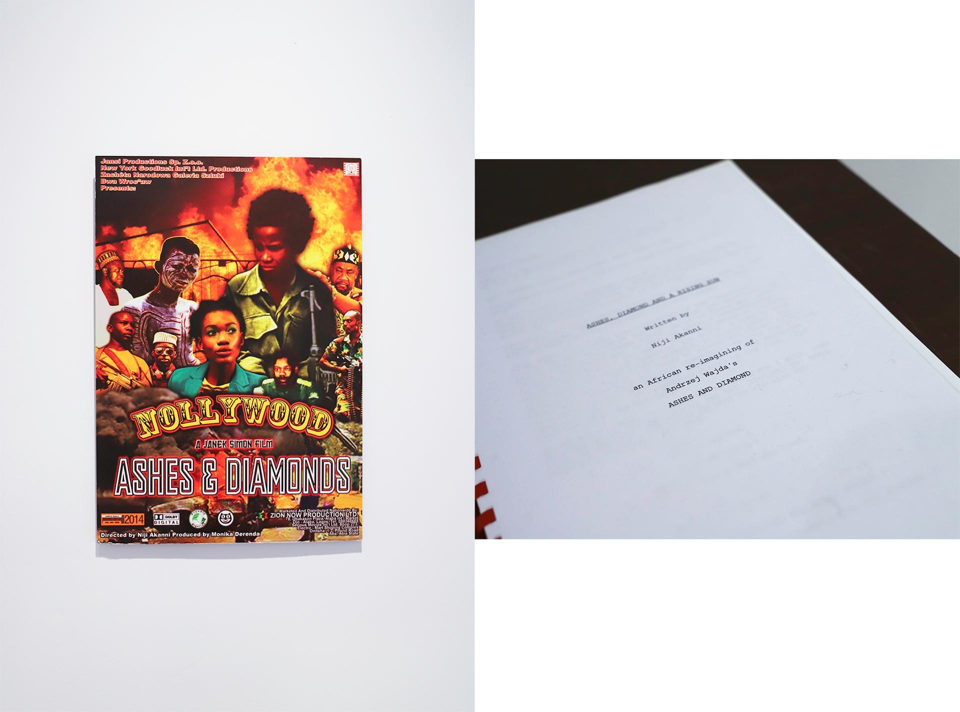 Obraz przedstawia dwa zdjęcia, na których widzimy kolorowy plakat na białej ścianie, oraz fragment książki.