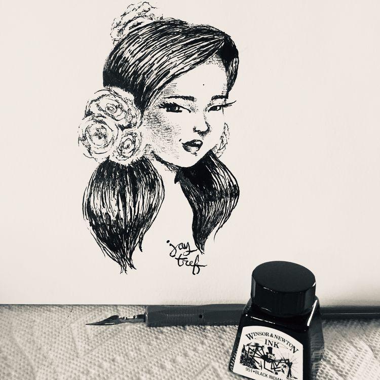 Spanish Rose, pen ink paper, 20 - jaytref | ello