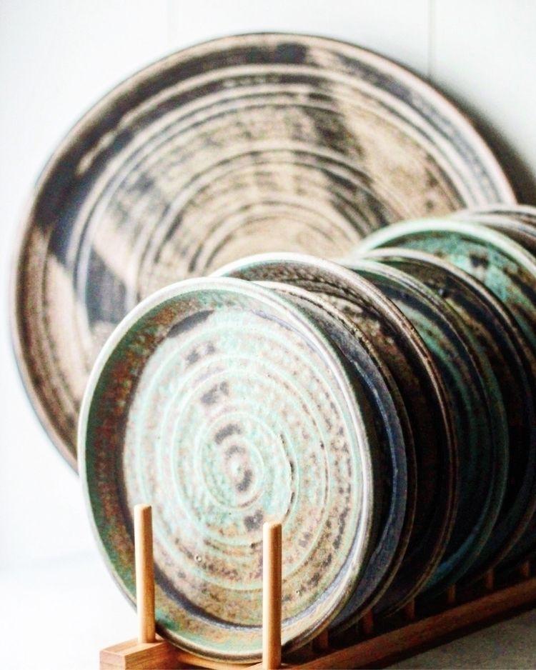 Turquoise plates - maker, ellosculpture - rollinghillspottery   ello