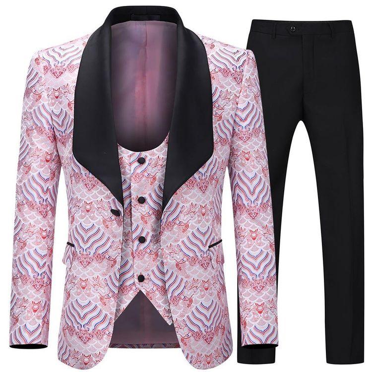 3-Piece Slim Fit Floral Suit 5  - boboxian | ello