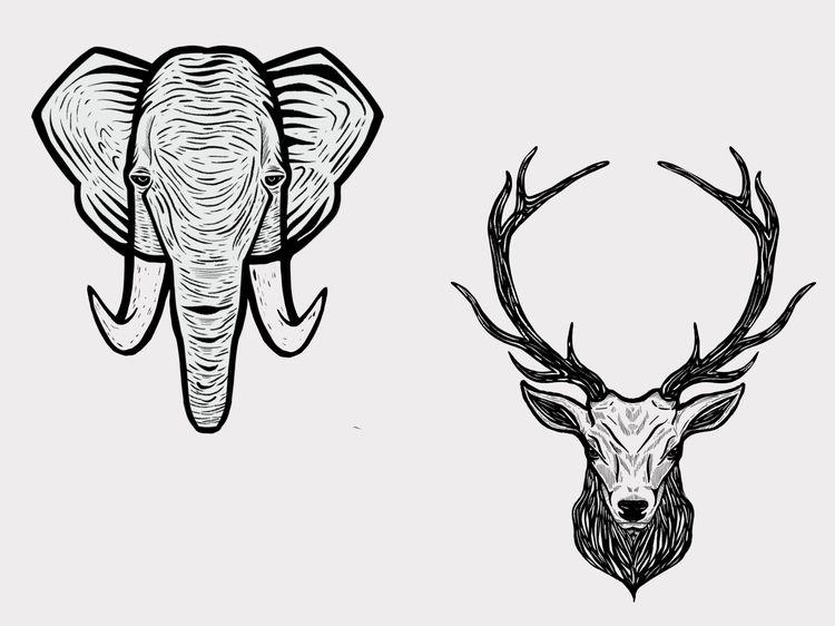 Dazed - art, artist, deer, elephant - mattadesigns | ello