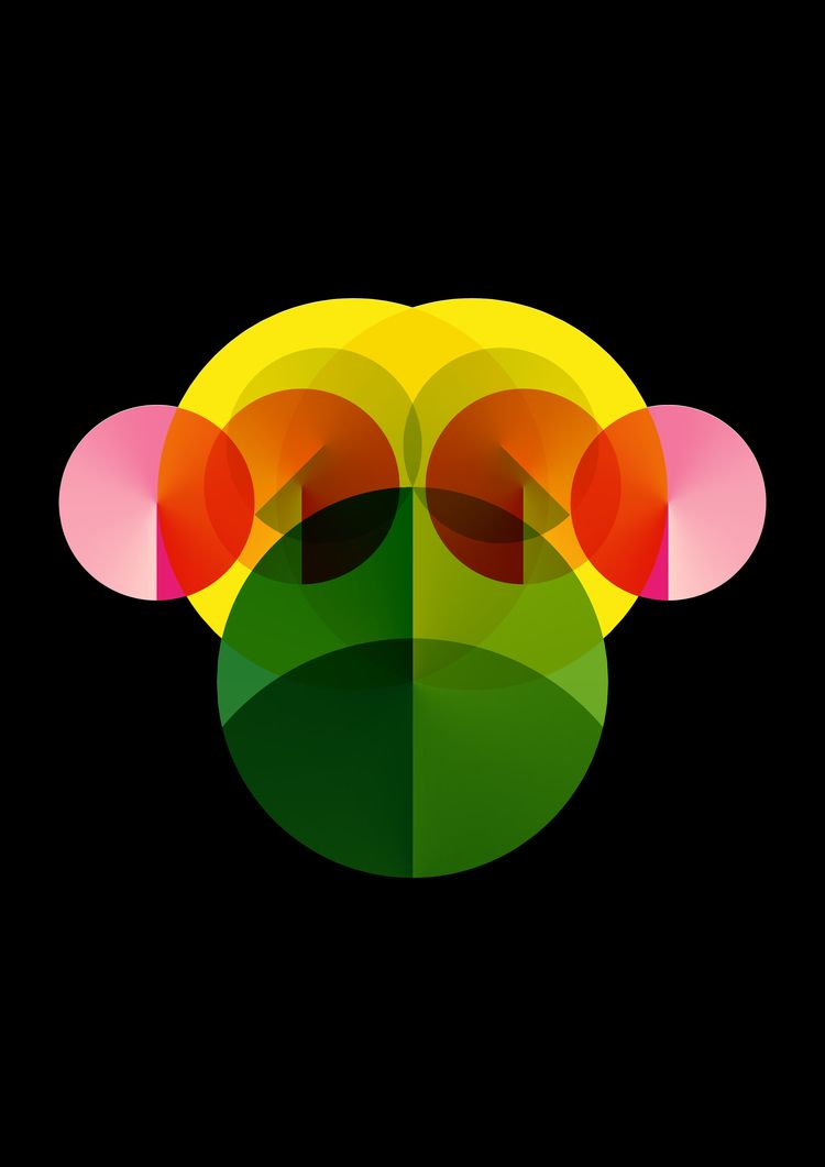 Geometric Chimp - circles, colour - beautifulbydesign | ello