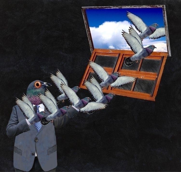 'making escape' digital collage - cripple_flies_dogs   ello