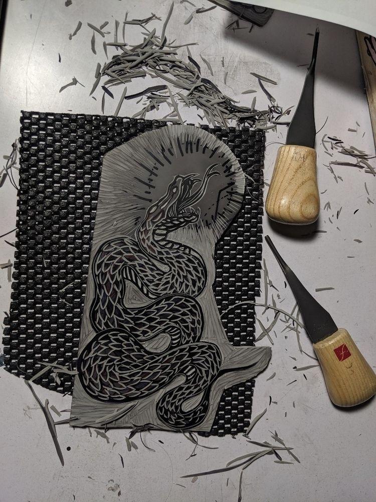 linocut love tools. post finish - the_artrat | ello