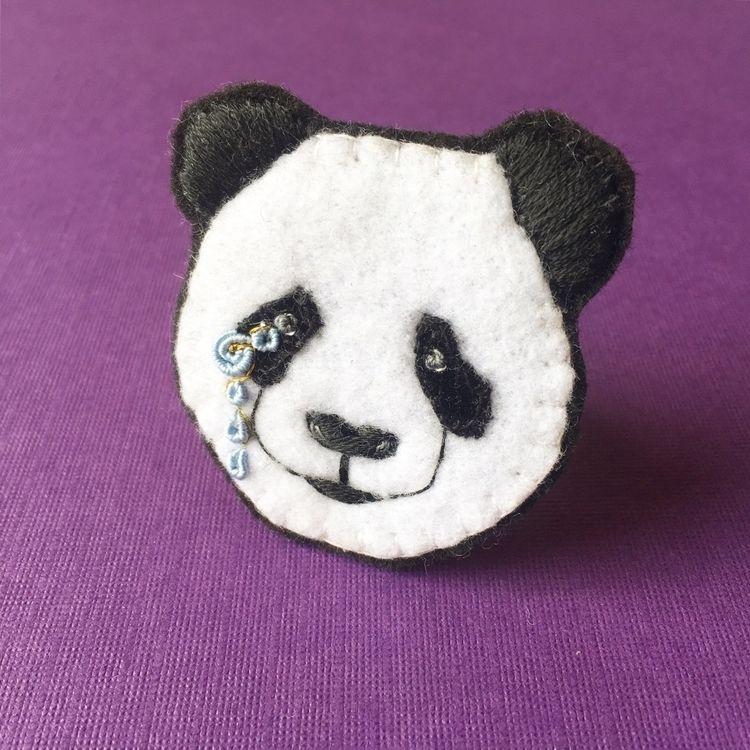broach, helpthepandas, embroideryart - crossthepop | ello