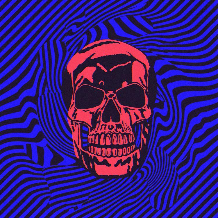 Digital death - skull, psychedelic - suga-cyan | ello