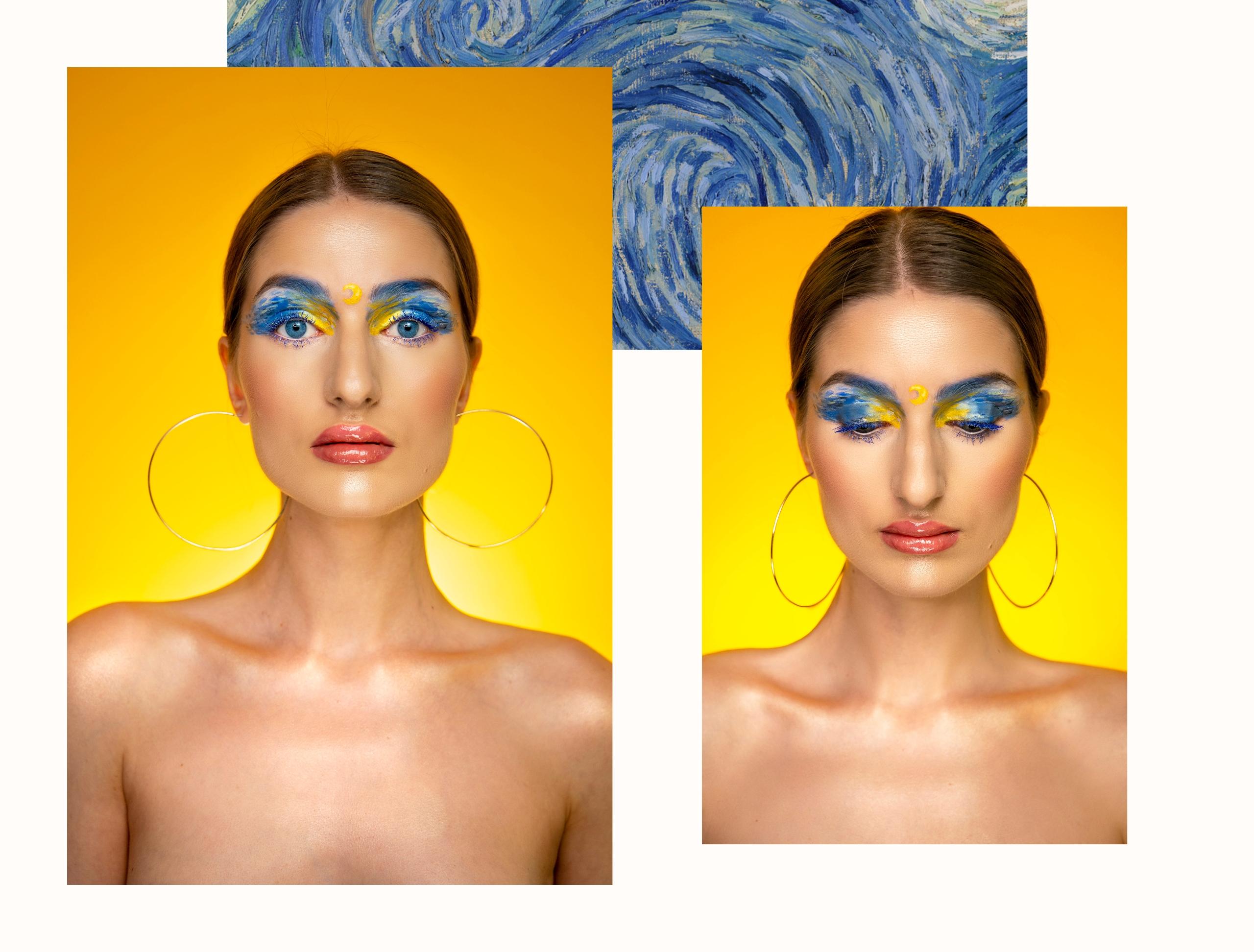 Obraz przedstawia dwie fotografie portretowe umieszczone na białym tle z niebieskimi elementami. Zdjęcia przedstawiają portret kobiety.