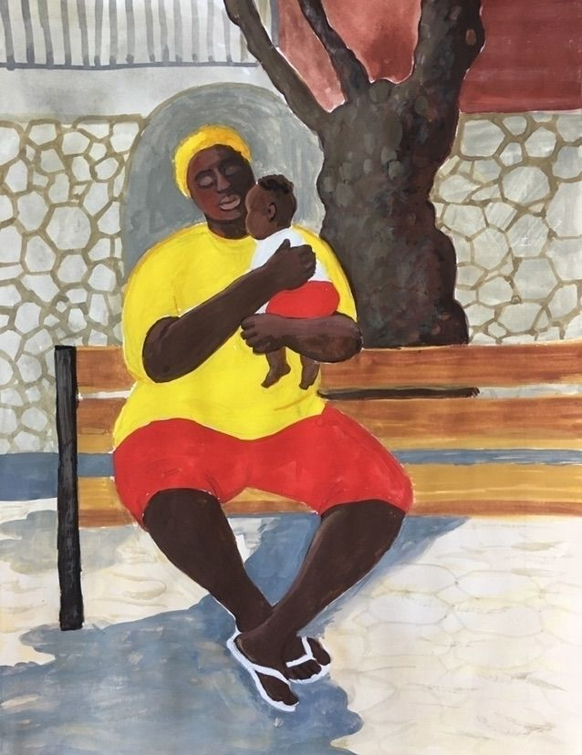 Big mama | St.Martin  - art#painting#gouache#sketch#islander#exhibition#art_series#motherandchild#modern#contemporaryart#poster - chulanova | ello