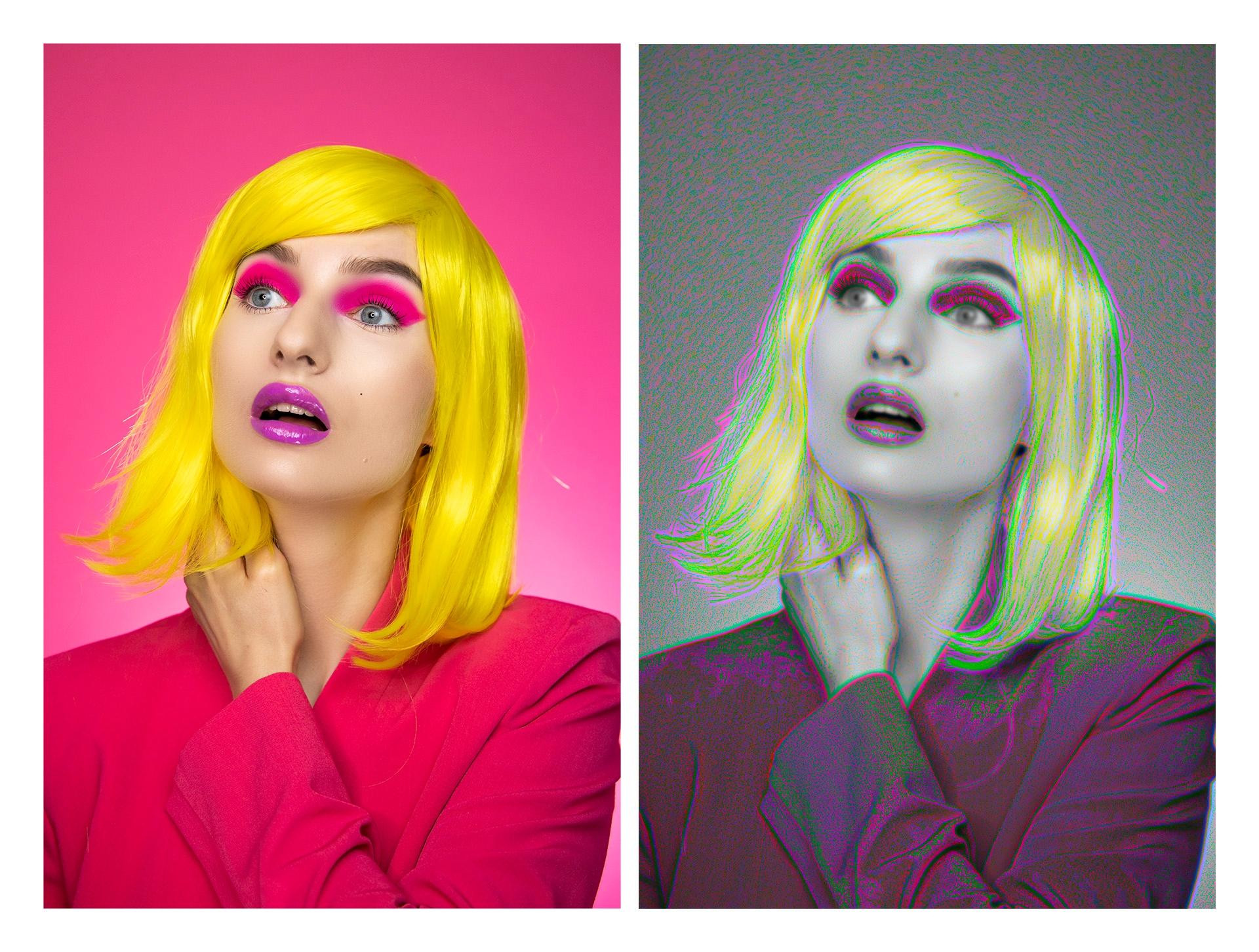 Obraz przedstawia dwa takie same portrety kobiety, z czego jeden z nich utrzymany jest w monochromatycznej tonacji.