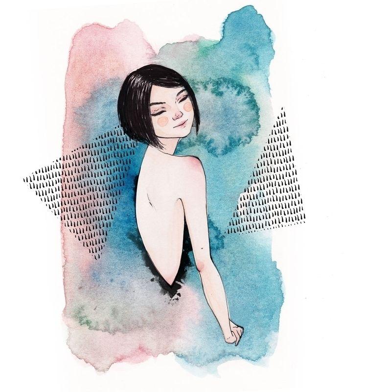 watercolour, ink, portrait - patchpo | ello