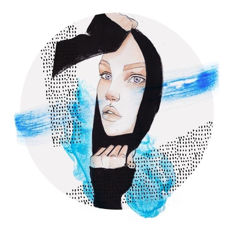 society6 - watercolour, ink, portrait - patchpo | ello