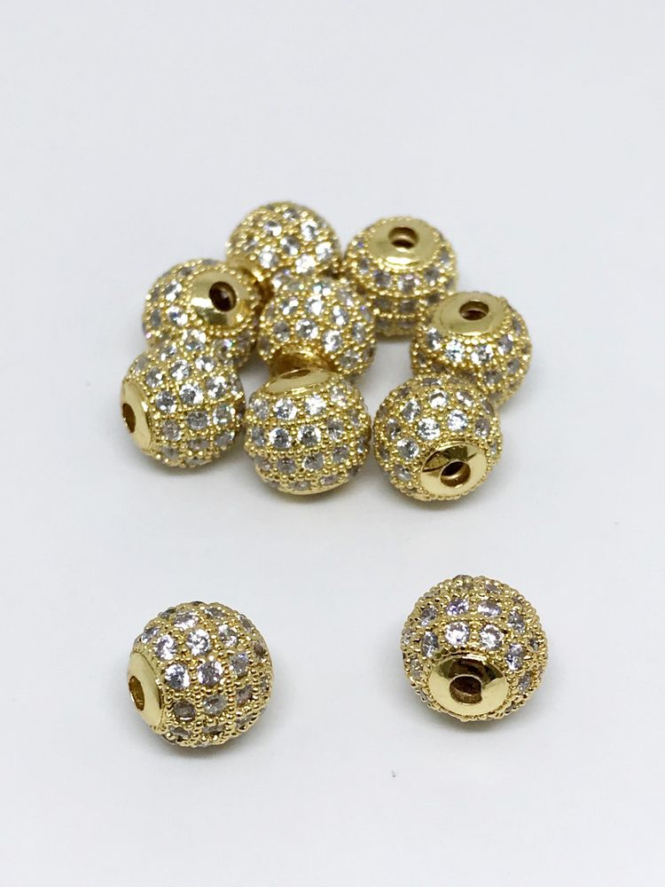 Golden Zercan Balls Size-10mm C - jaipurbeads | ello