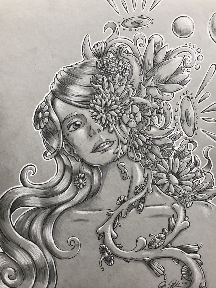 Bloom, ink white charcoal toned - hypnagogist | ello