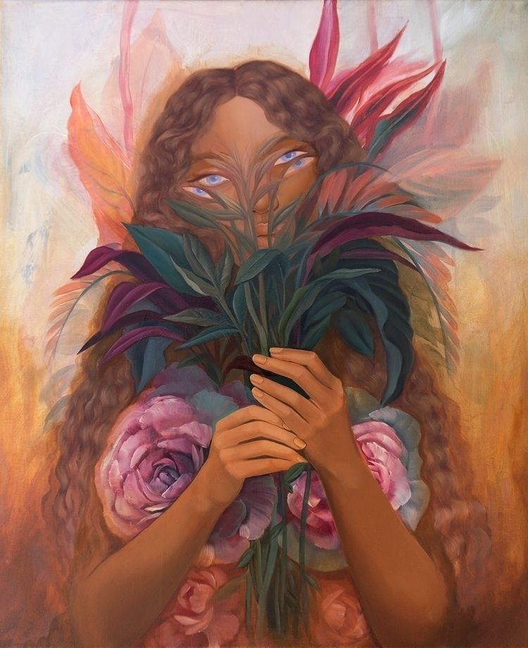 brought flowers', 2019 Oil canv - mosessa | ello