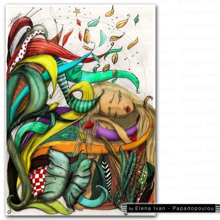 illustration, blond, girl, sleeping - elenaivanpapa | ello