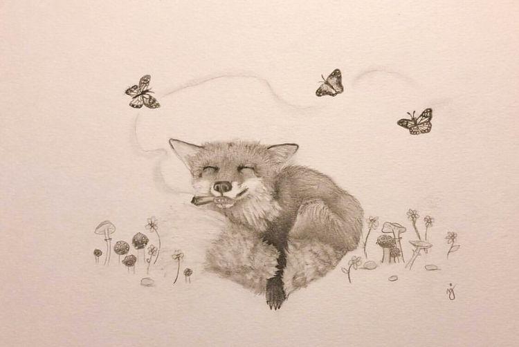 Happy fox - cannabis, art, happy - mindsketchin | ello