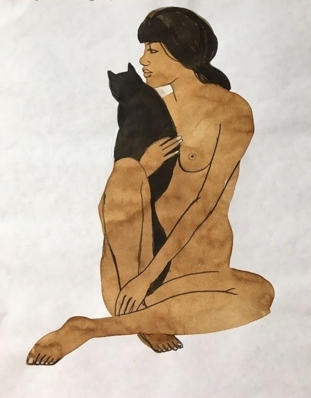 Chat noir  - Art, painting, ink#graphic - chulanova | ello